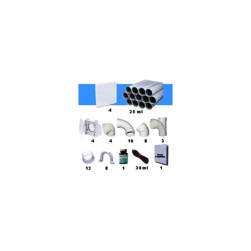 Kit 4 prises europe blanches avec tuyaux