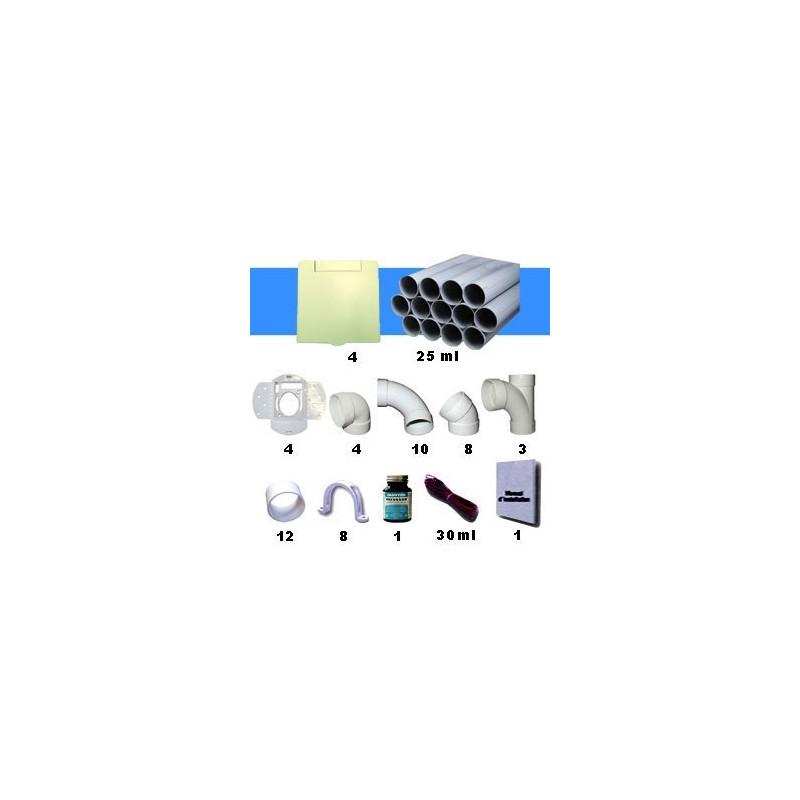 Kit 4 prises carrées amandes avec tuyaux