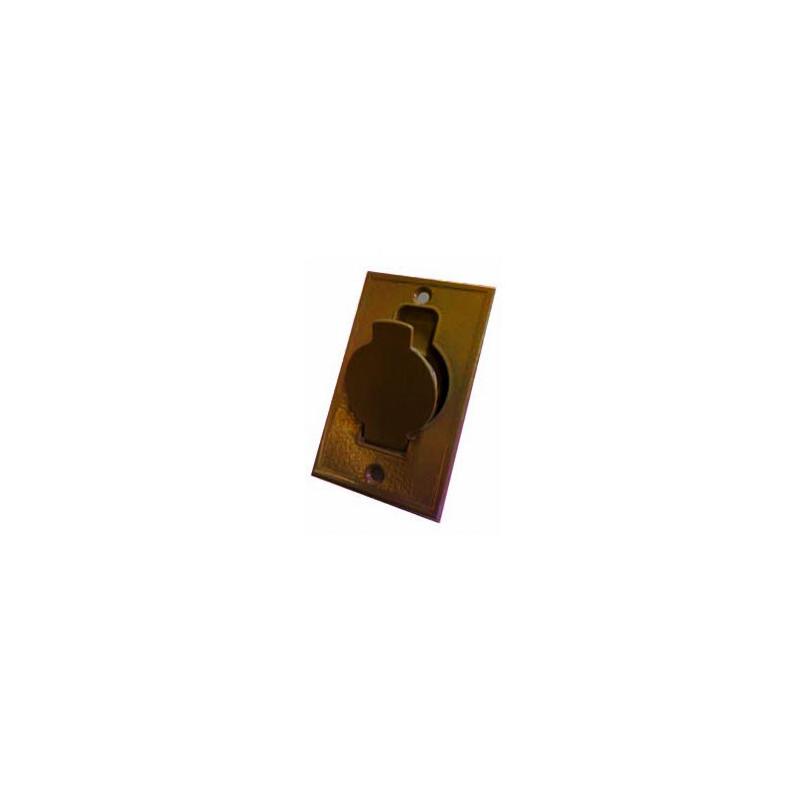 Prise métal plate bronze