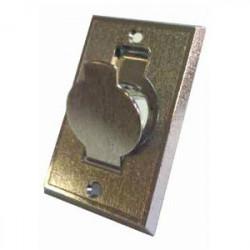 Prise métal porte ronde chromée