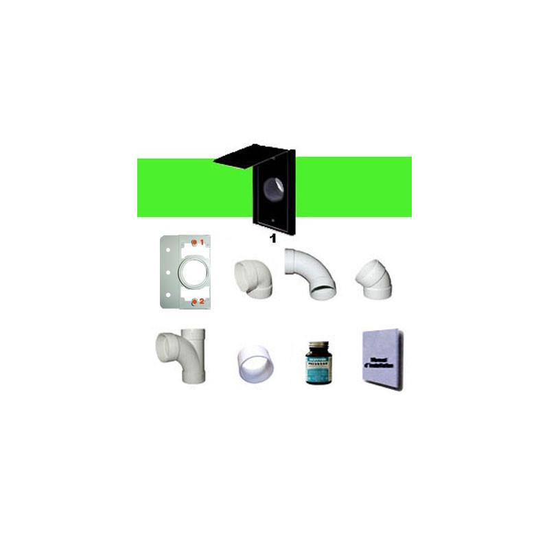 Kit 1 prise rectangle NOIRE sans tuyaux
