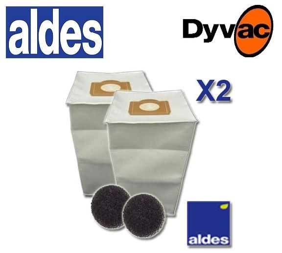 sacs x 2 aspiration centralis e aldes filtres sac dyvac. Black Bedroom Furniture Sets. Home Design Ideas