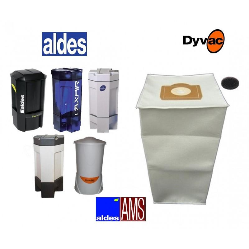 Sacs x 5 + 1 OFFERT  aldes 30 litres Aspiration centralisée Aldes + filtres