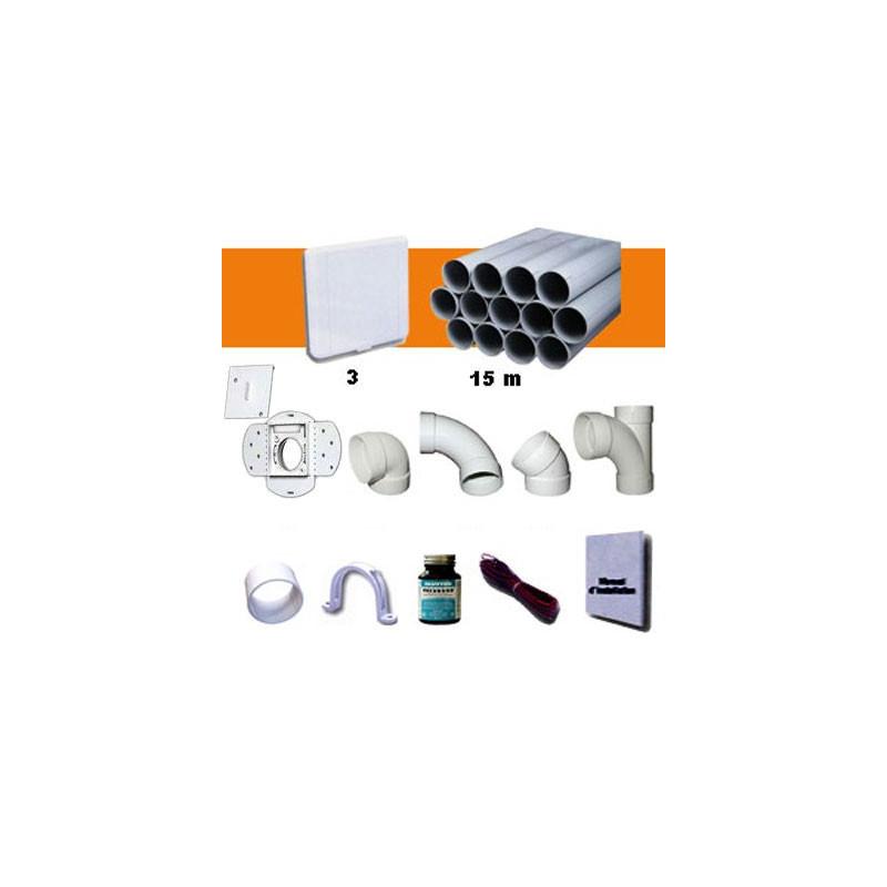 Kit 3 prises carrées blanches avec PVC