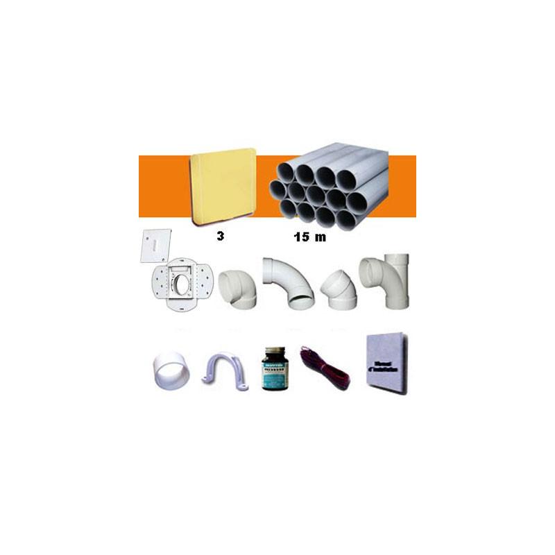Kit 3 prises carrées beiges avec PVC
